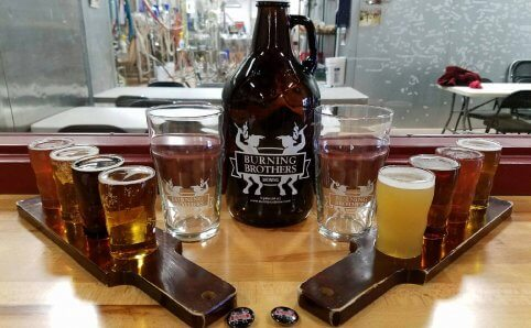 Burning Brothers Brewing Samplers and Growler