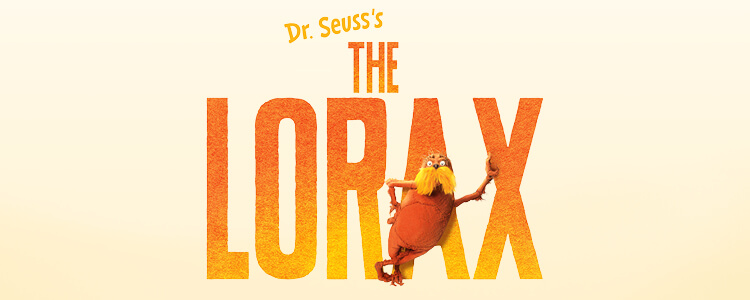 "Lorax leaning against ""The Lorax"" title"