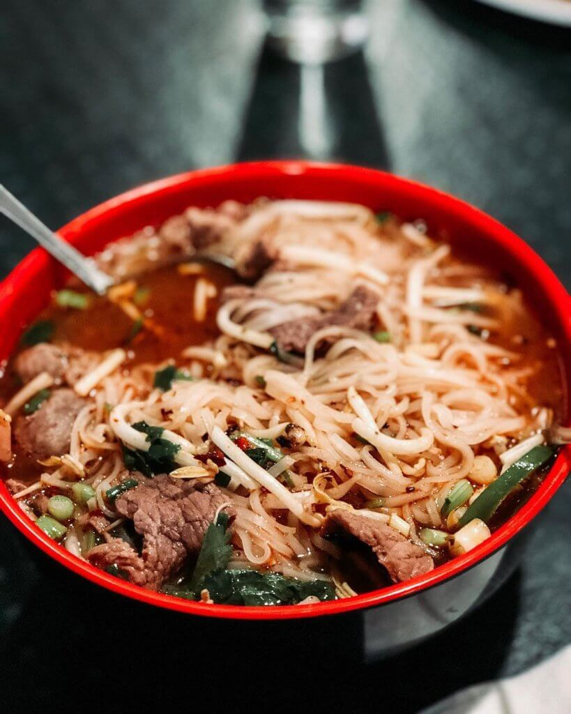 pho in red bowl